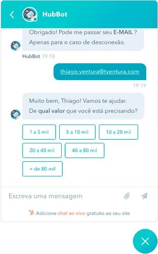 Site com Chat Bot para aumentar os resultados